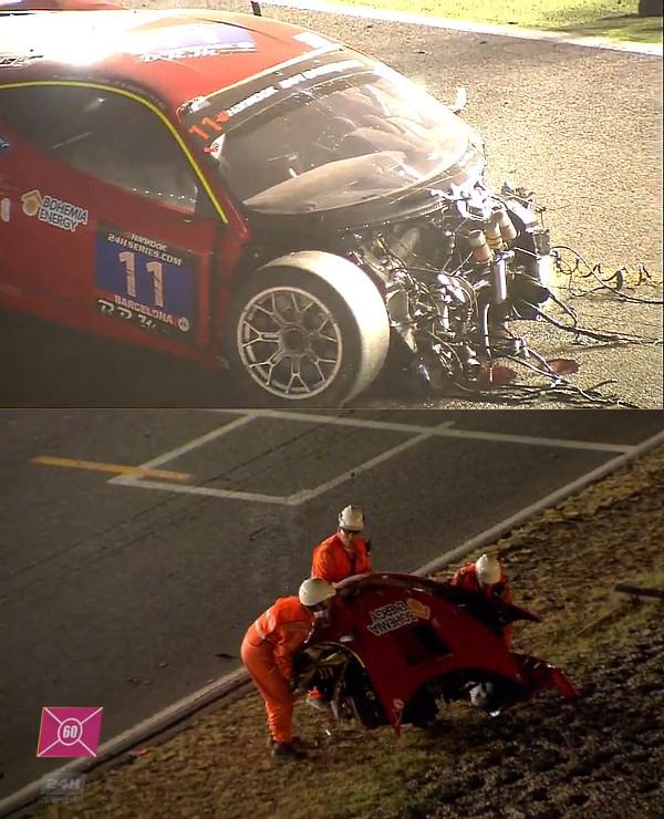 24h-Barcelona-2016-Crashed-Ferrari-Nr11-ohne-Nase+Nase-am-Streckenrand