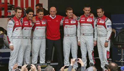 Oliver Jarvis, Lucas di Grassi, Loïc Duval, Dr. Wolfgang Ullrich, André Lotterer, Marcel Fässler, Benoît Tréluyer