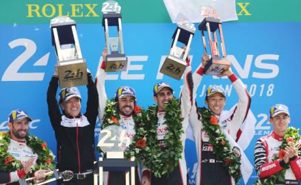 24h-Le-Mans-2017-Sieg-fuer-Toyota-Gazoo-Racing-Podium-Nakajima,Buemi-Alonso