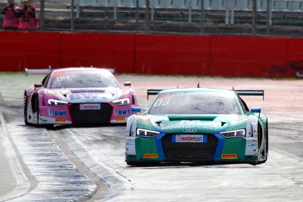ADAC-GT-Masters-2018-Hockenheimring-Rennen-1-Land-Motorsport-Audi-R8-LMS-vor-Mucke-Motorsport-Audi-R8-LMS