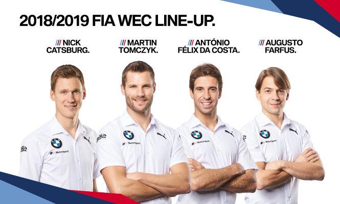 BMW-FIA-WEC-2018-2019-Fahrer-Nick-Catsburg-Martin-Tomczyk-Antonio-Felix-da-Costa-Augusto-Farfus