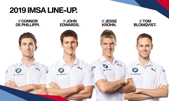 BMW-IMSA- 2019-Fahrer-Connor-De-Phillippi-John-Edwards-Jesse-Krohn-Tom-Blomqvist