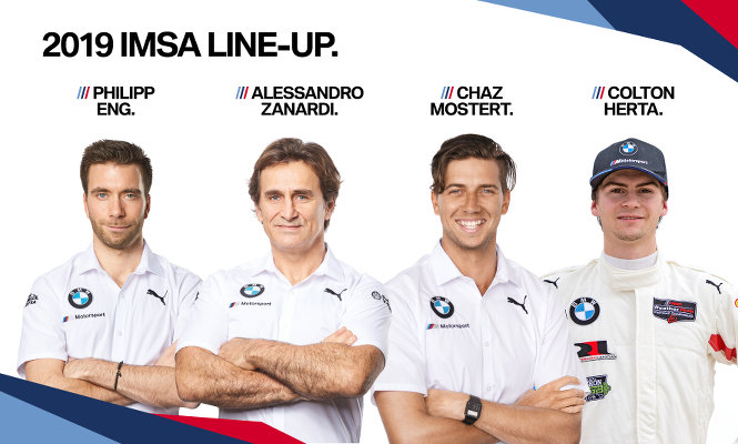 BMW-IMSA-2019-Fahrer-Philipp-Eng-Alessandro-Zanardi-Chaz-Mostert-Colton-Herta