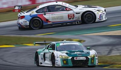 IMSA-2017-Petit-Le-Mans-Sieger-BMW-M6-GTLM-Nr.25-und-Land-Audi-R8-LMS-Nr.29